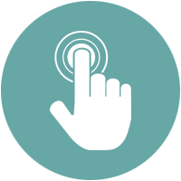 Icon showing a finger pressing the button needed to book a discovery call