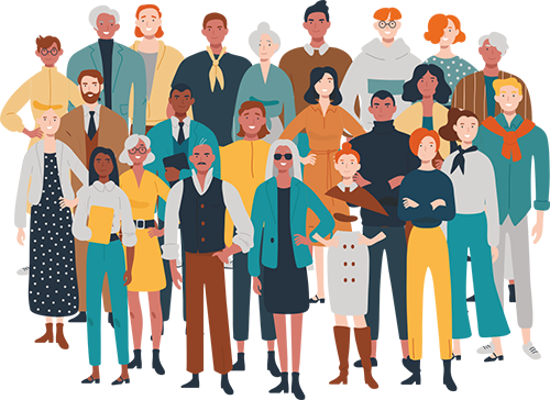 Illustration of a diverse group of people, suggesting that our training is suitable for people of all ages and levels of education
